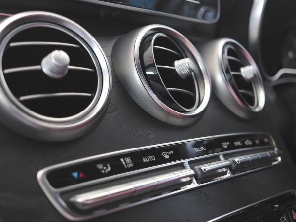 Interior of Mercedes with air conditioning