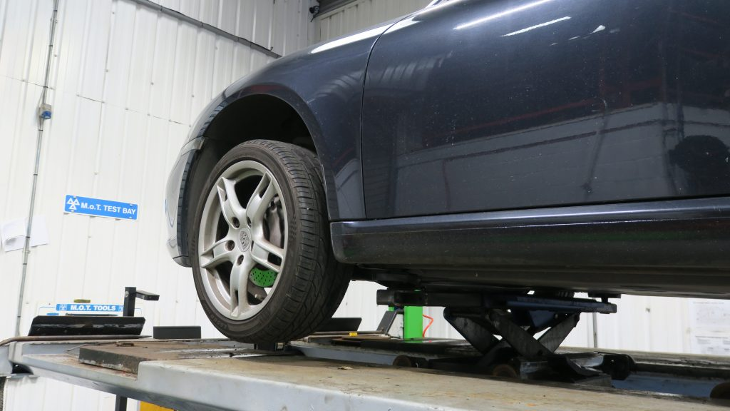 Car in MOT test bay